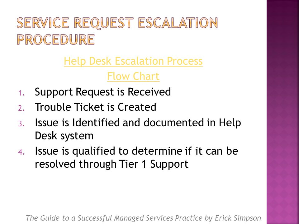 Help Desk Escalation Process Flow Chart 1. Support Request is Received 2.