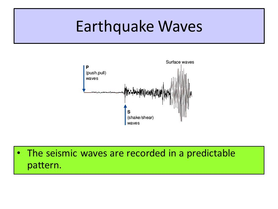 Earthquake Waves The seismic waves are recorded in a predictable pattern.