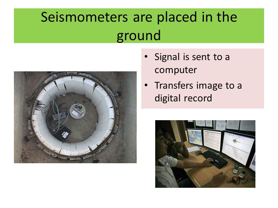 Seismometers are placed in the ground Signal is sent to a computer Transfers image to a digital record