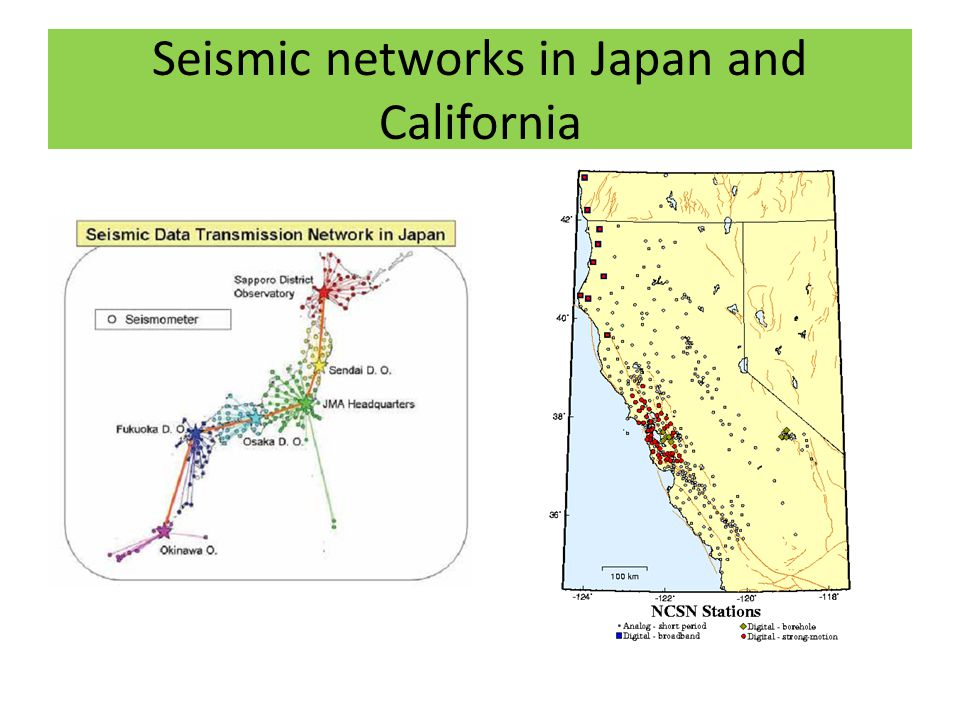 Seismic networks in Japan and California