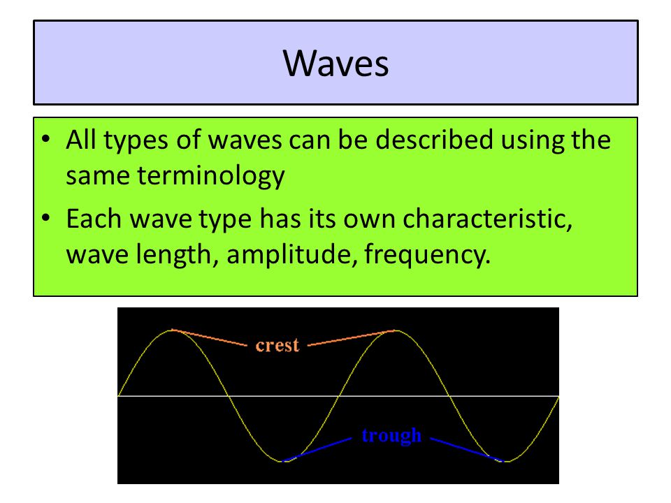 Waves All types of waves can be described using the same terminology Each wave type has its own characteristic, wave length, amplitude, frequency.
