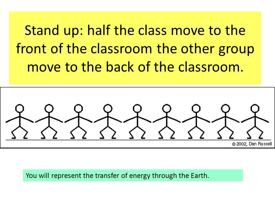 Stand up: half the class move to the front of the classroom the other group move to the back of the classroom.