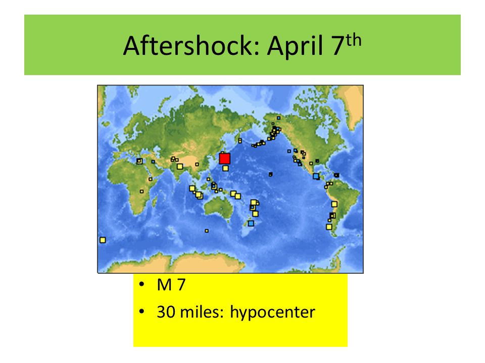 Aftershock: April 7 th M 7 30 miles: hypocenter