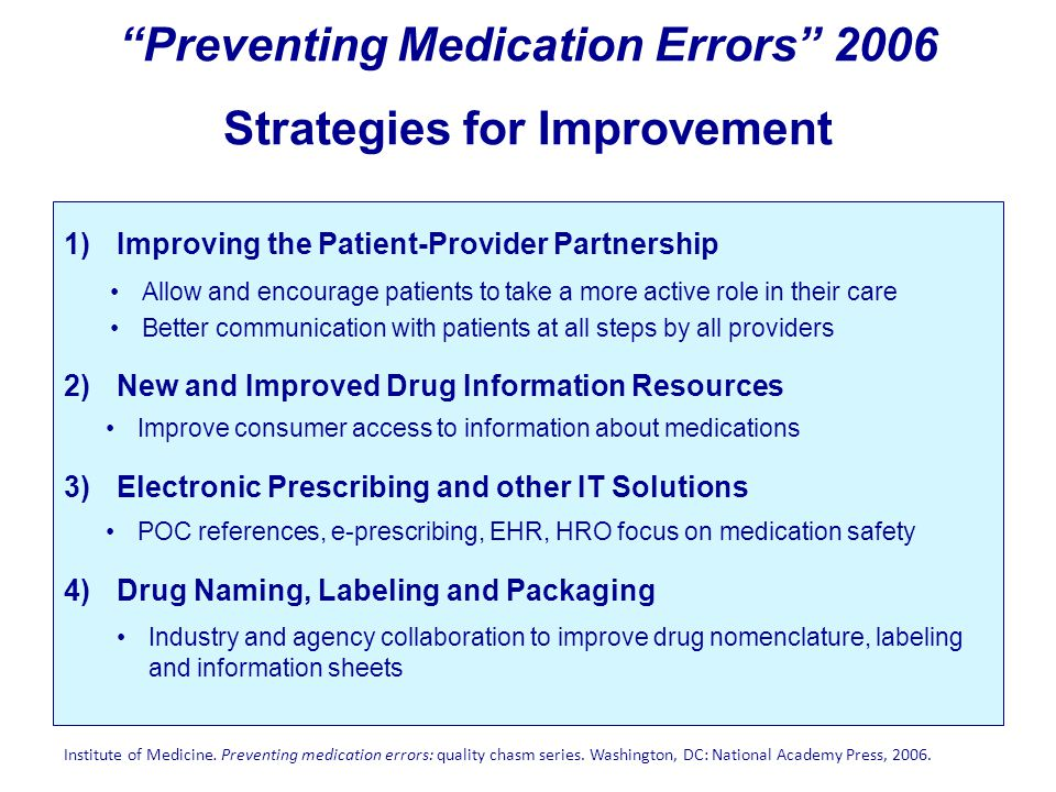 """Preventing Medication Errors"" 2006 Strategies for Improvement 1)Improving the Patient-Provider Partnership Allow and encourage patients to take a mor"