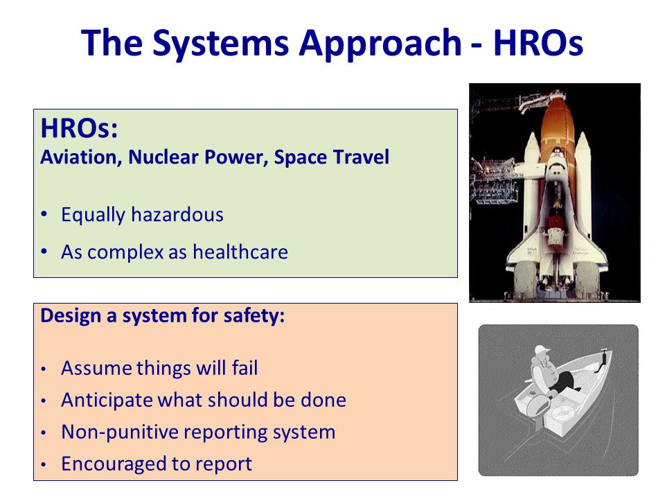 The Systems Approach - HROs Design a system for safety: Assume things will fail Anticipate what should be done Non-punitive reporting system Encourage
