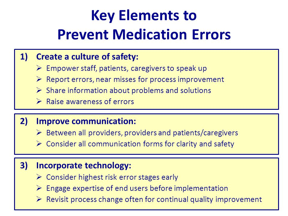 Key Elements to Prevent Medication Errors 1)Create a culture of safety:  Empower staff, patients, caregivers to speak up  Report errors, near misses