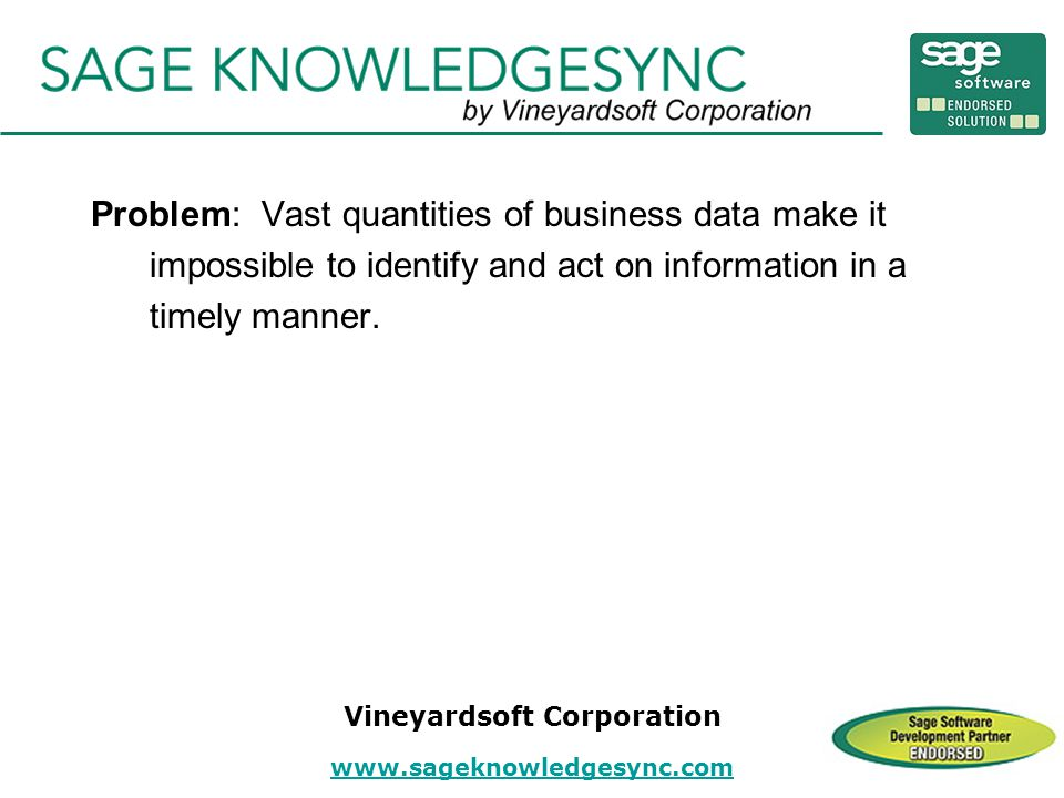 Problem: Vast quantities of business data make it impossible to identify and act on information in a timely manner.