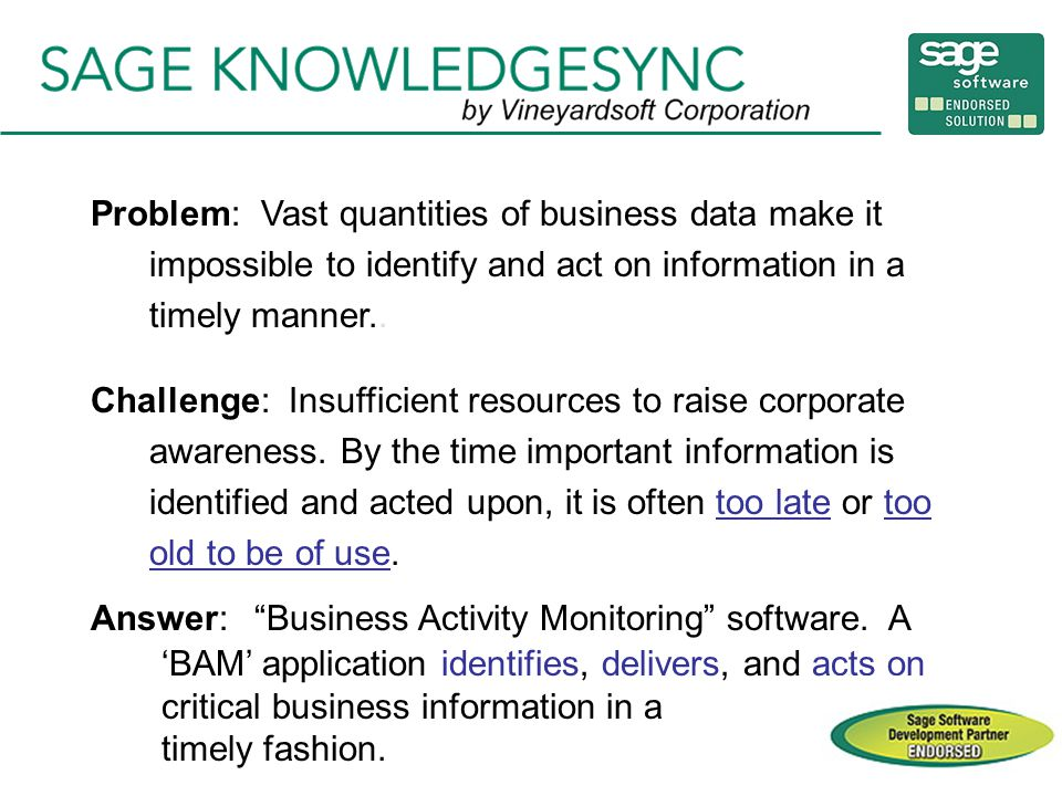 Problem: Vast quantities of business data make it impossible to identify and act on information in a timely manner..