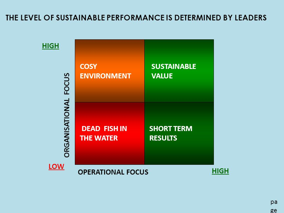 THE LEVEL OF SUSTAINABLE PERFORMANCE IS DETERMINED BY LEADERS pa ge 21 OPERATIONAL FOCUS ORGANISATIONAL FOCUS LOW HIGH SUSTAINABLE VALUE SHORT TERM RESULTS DEAD FISH IN THE WATER COSY ENVIRONMENT