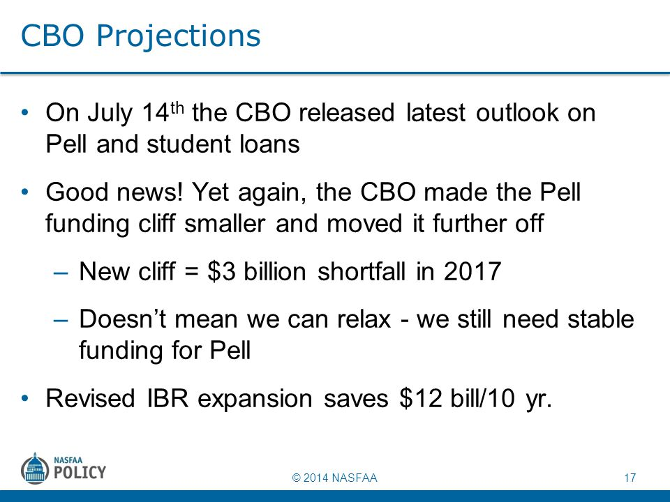 © 2014 NASFAA 17 CBO Projections On July 14 th the CBO released latest outlook on Pell and student loans Good news! Yet again, the CBO made the Pell f