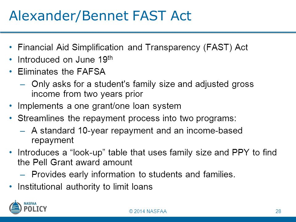 © 2014 NASFAA 28 Alexander/Bennet FAST Act Financial Aid Simplification and Transparency (FAST) Act Introduced on June 19 th Eliminates the FAFSA –Onl