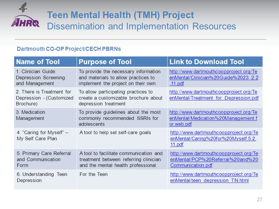 Teen Mental Health (TMH) Project Dissemination and Implementation Resources Name of ToolPurpose of ToolLink to Download Tool 1.