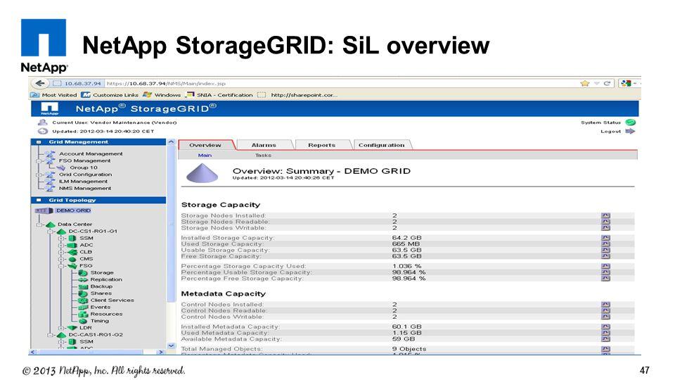 47 NetApp StorageGRID: SiL overview