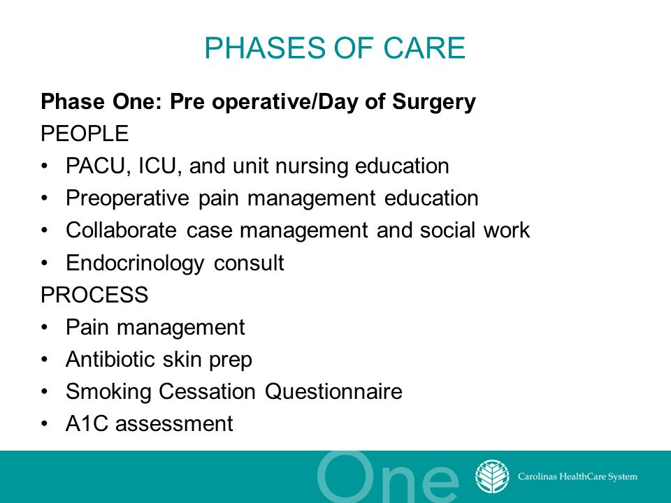 PHASES OF CARE Phase One: Pre operative/Day of Surgery PEOPLE PACU, ICU, and unit nursing education Preoperative pain management education Collaborate case management and social work Endocrinology consult PROCESS Pain management Antibiotic skin prep Smoking Cessation Questionnaire A1C assessment
