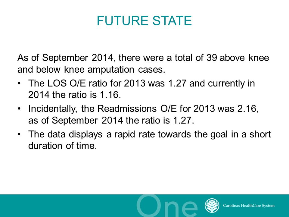 FUTURE STATE As of September 2014, there were a total of 39 above knee and below knee amputation cases. The LOS O/E ratio for 2013 was 1.27 and curren