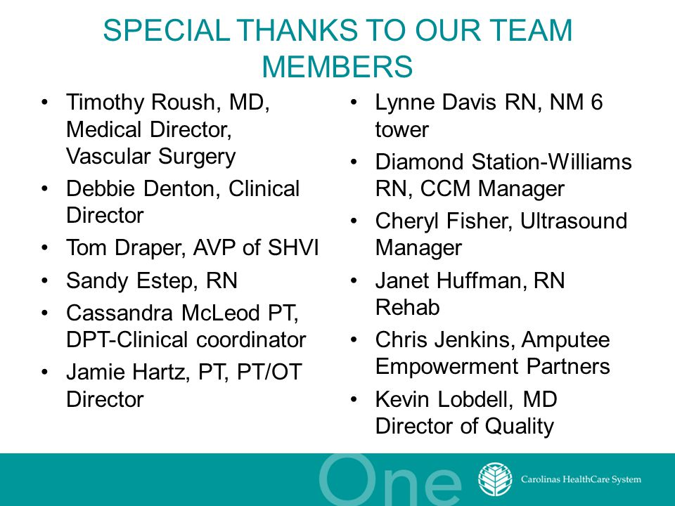 SPECIAL THANKS TO OUR TEAM MEMBERS Timothy Roush, MD, Medical Director, Vascular Surgery Debbie Denton, Clinical Director Tom Draper, AVP of SHVI Sand
