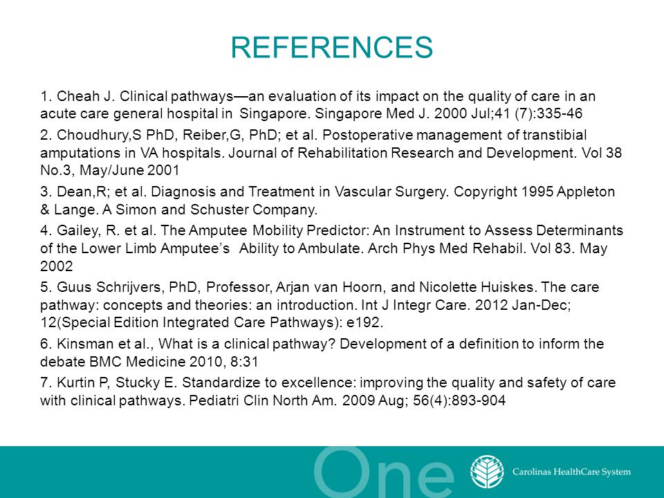 REFERENCES 1. Cheah J. Clinical pathways—an evaluation of its impact on the quality of care in an acute care general hospital in Singapore. Singapore