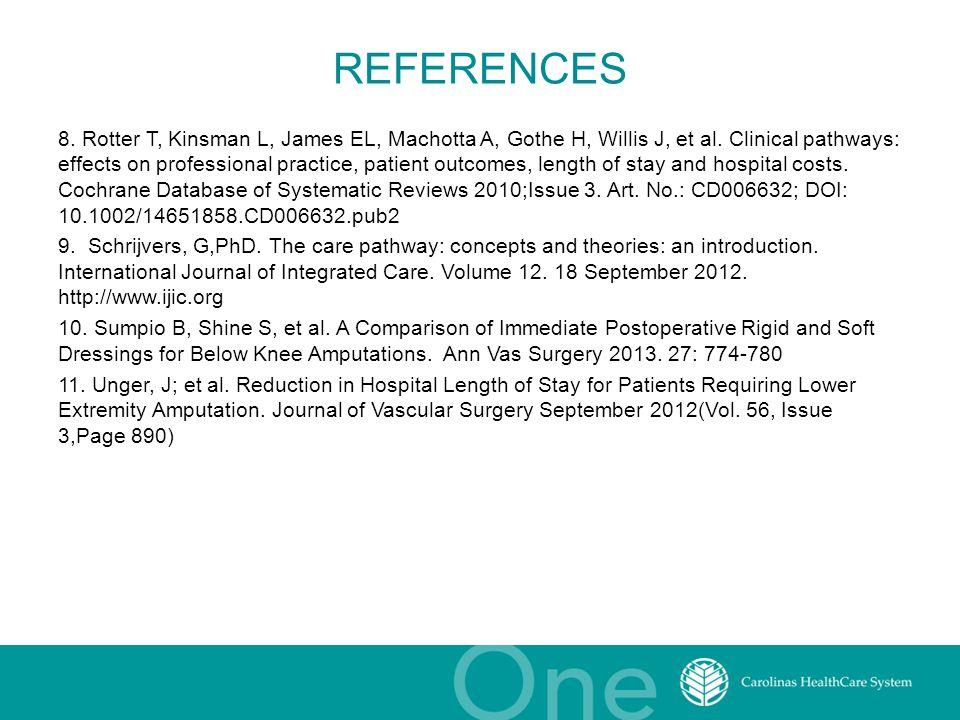 REFERENCES 8. Rotter T, Kinsman L, James EL, Machotta A, Gothe H, Willis J, et al. Clinical pathways: effects on professional practice, patient outcom