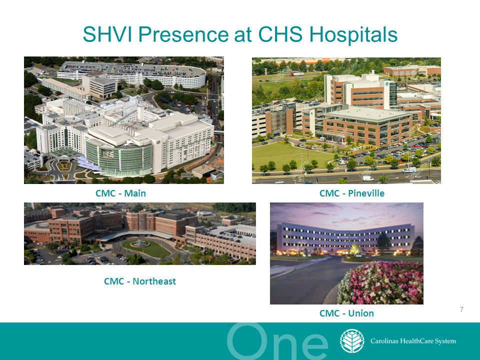 SHVI Presence at CHS Hospitals CMC - Pineville CMC - Northeast CMC - Main CMC - Union 7