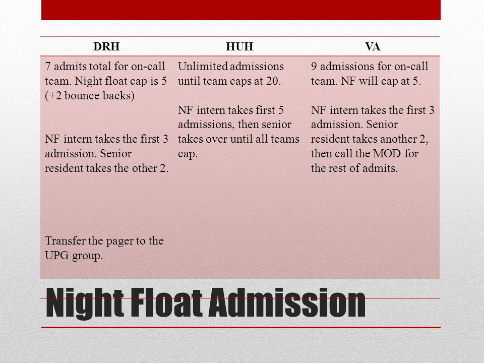 Night Float Admission DRHHUHVA 7 admits total for on-call team. Night float cap is 5 (+2 bounce backs) NF intern takes the first 3 admission. Senior r