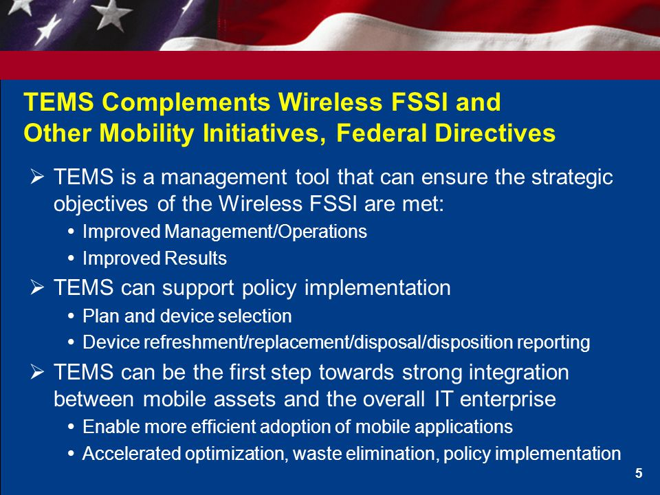 TEMS Solution Components (Based on FSSI IDIQ) 6 Core Services 1.Wireless Service Contract/Agreement Administration Services 2.Inventory Management Services 3.Invoice Management and Audit Services 4.Rate Plan Optimization Services 5.Management Reporting Services Portal Services 1 1.Wireless Service Contract/Agreement Administration Services 2.Inventory Management Services 3.Management Reporting Services 4.Ordering and Procurement Services Optional Services 1.Contract Optimization Services 2.Ordering and Procurement Services 3.Bill Payment Services 4.Dispute Recovery Services 5.Device Disposition / Disposal Services 1 Modification in-development
