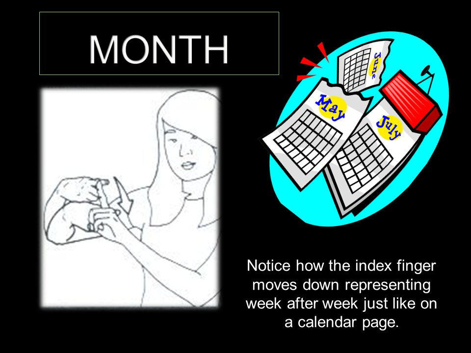 Notice how the index finger moves down representing week after week just like on a calendar page.