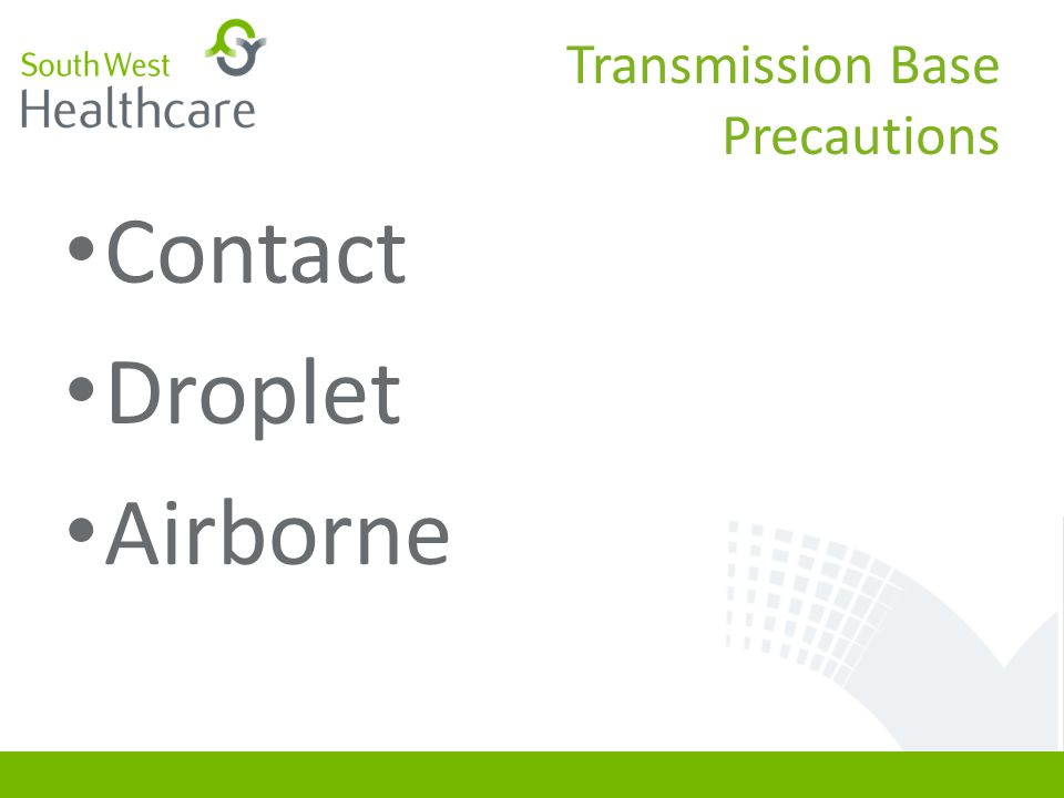 Transmission Base Precautions Contact Droplet Airborne