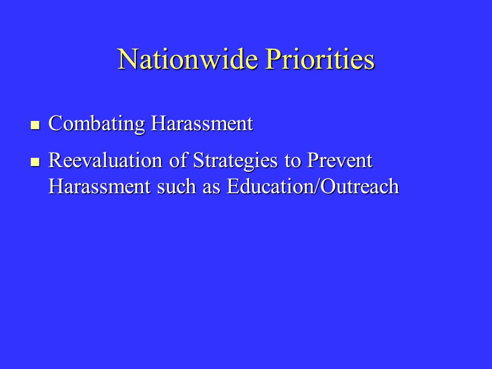 Nationwide Priorities Combating Harassment Combating Harassment Reevaluation of Strategies to Prevent Harassment such as Education/Outreach Reevaluation of Strategies to Prevent Harassment such as Education/Outreach