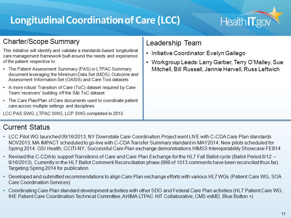 Longitudinal Coordination of Care (LCC) Charter/Scope Summary This initiative will identify and validate a standards-based longitudinal care management framework built around the needs and experience of the patient respective to: The Patient Assessment Summary (PAS) or LTPAC Summary document leveraging the Minimum Data Set (MDS), Outcome and Assessment Information Set (OASIS) and Care Tool datasets A more robust Transition of Care (ToC) dataset required by Care Team 'receivers' building off the S&I ToC dataset The Care Plan/Plan of Care documents used to coordinate patient care across multiple settings and disciplines LCC PAS SWG, LTPAC SWG, LCP SWG completed in 2013.