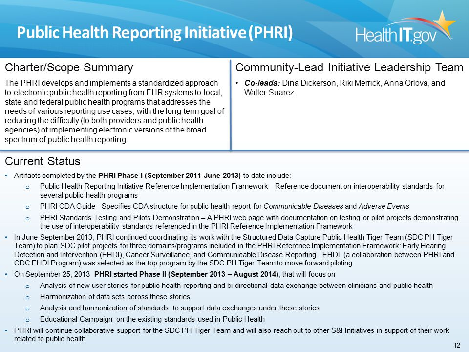 Public Health Reporting Initiative (PHRI) Charter/Scope Summary The PHRI develops and implements a standardized approach to electronic public health reporting from EHR systems to local, state and federal public health programs that addresses the needs of various reporting use cases, with the long-term goal of reducing the difficulty (to both providers and public health agencies) of implementing electronic versions of the broad spectrum of public health reporting.