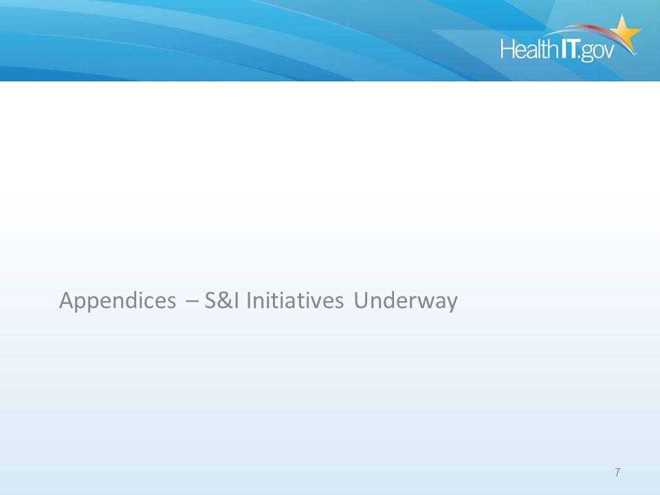 APPENDICES Appendices – S&I Initiatives Underway 7