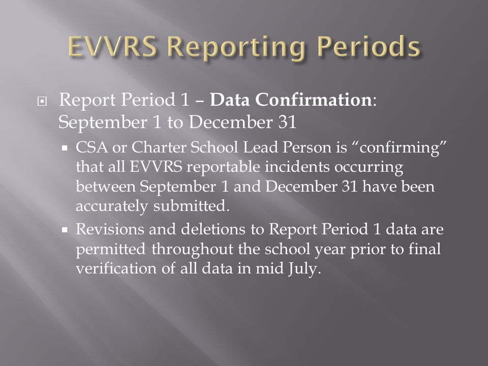 " Report Period 1 – Data Confirmation : September 1 to December 31  CSA or Charter School Lead Person is ""confirming"" that all EVVRS reportable incid"