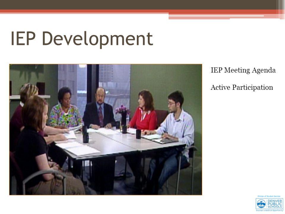IEP Development IEP Meeting Agenda Active Participation
