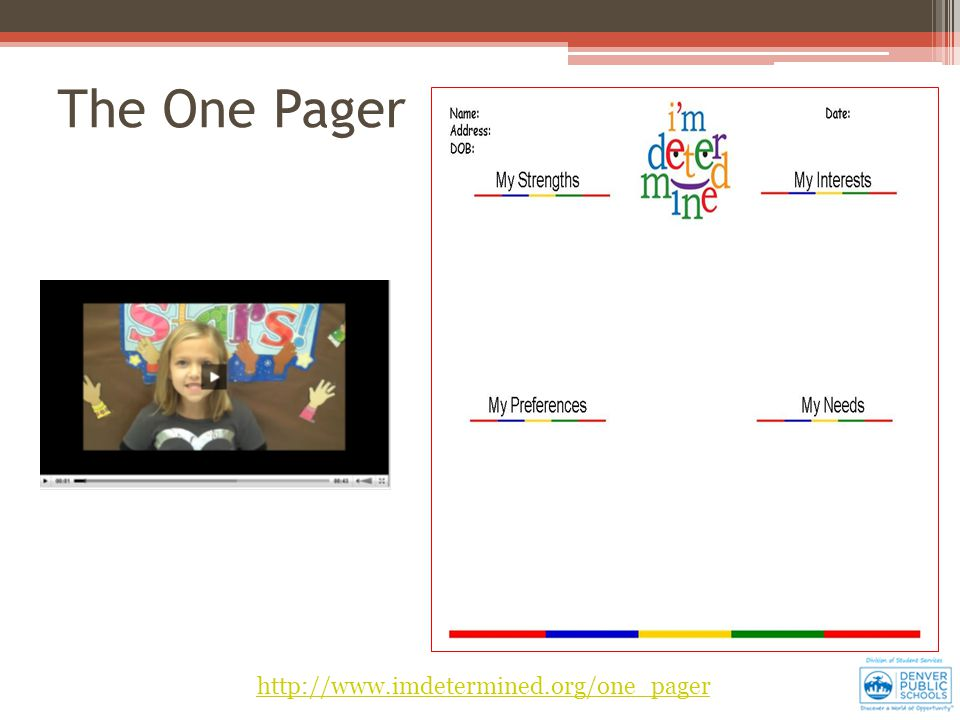 http://www.imdetermined.org/one_pager The One Pager