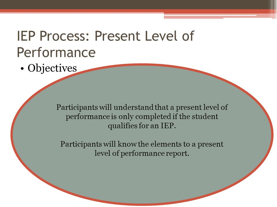 IEP Process: Present Level of Performance Objectives Participants will understand that a present level of performance is only completed if the student qualifies for an IEP.