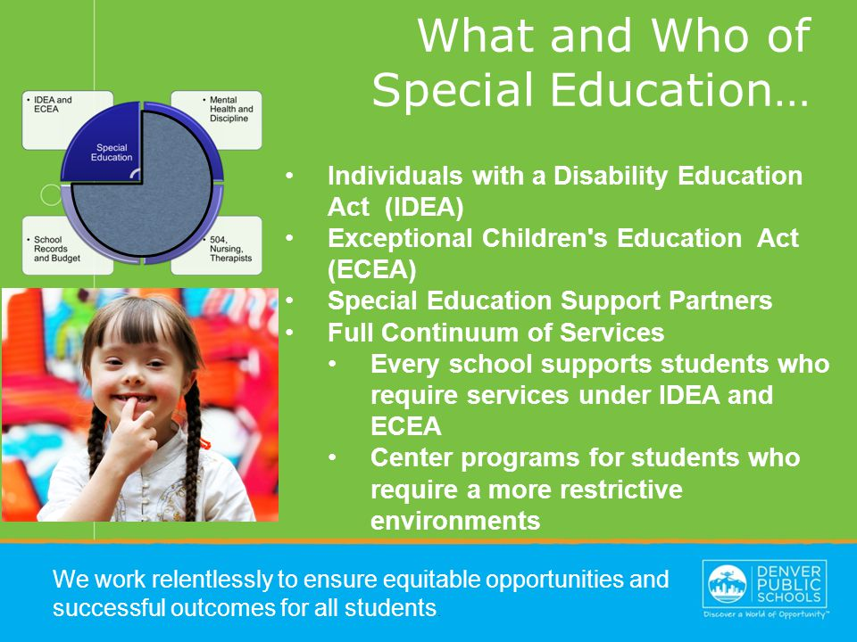 What and Who of Special Education… We work relentlessly to ensure equitable opportunities and successful outcomes for all students.