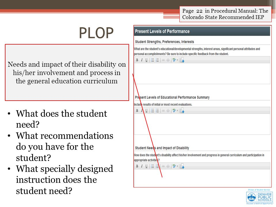 Page 22 in Procedural Manual: The Colorado State Recommended IEP Needs and impact of their disability on his/her involvement and process in the general education curriculum What does the student need.