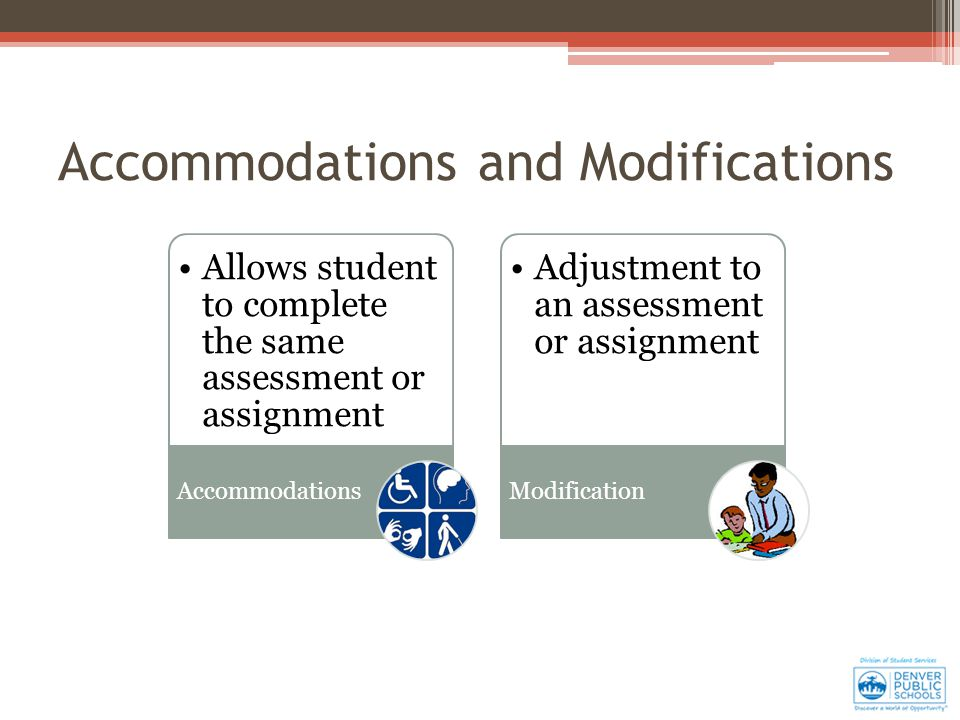 Allows student to complete the same assessment or assignment Accommodations Adjustment to an assessment or assignment Modification Accommodations and Modifications