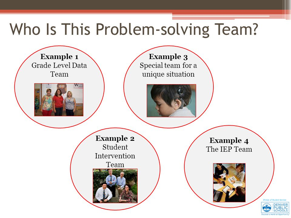 Example 1 Grade Level Data Team Example 2 Student Intervention Team Example 3 Special team for a unique situation Example 4 The IEP Team Who Is This Problem-solving Team