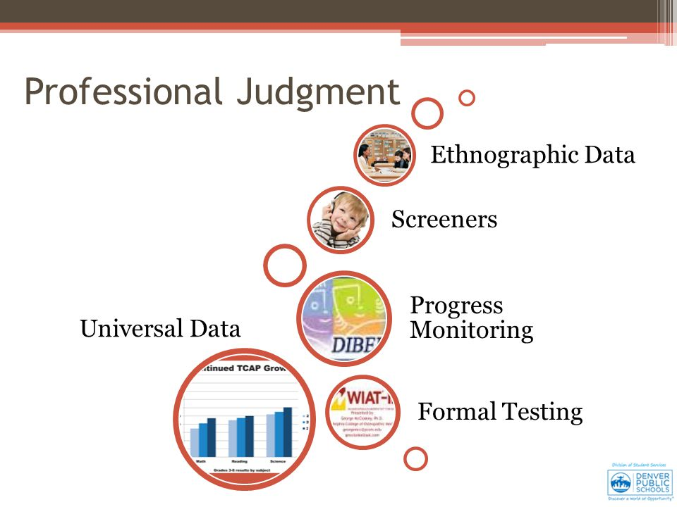 Universal Data Formal Testing Progress Monitoring Screeners Ethnographic Data Professional Judgment