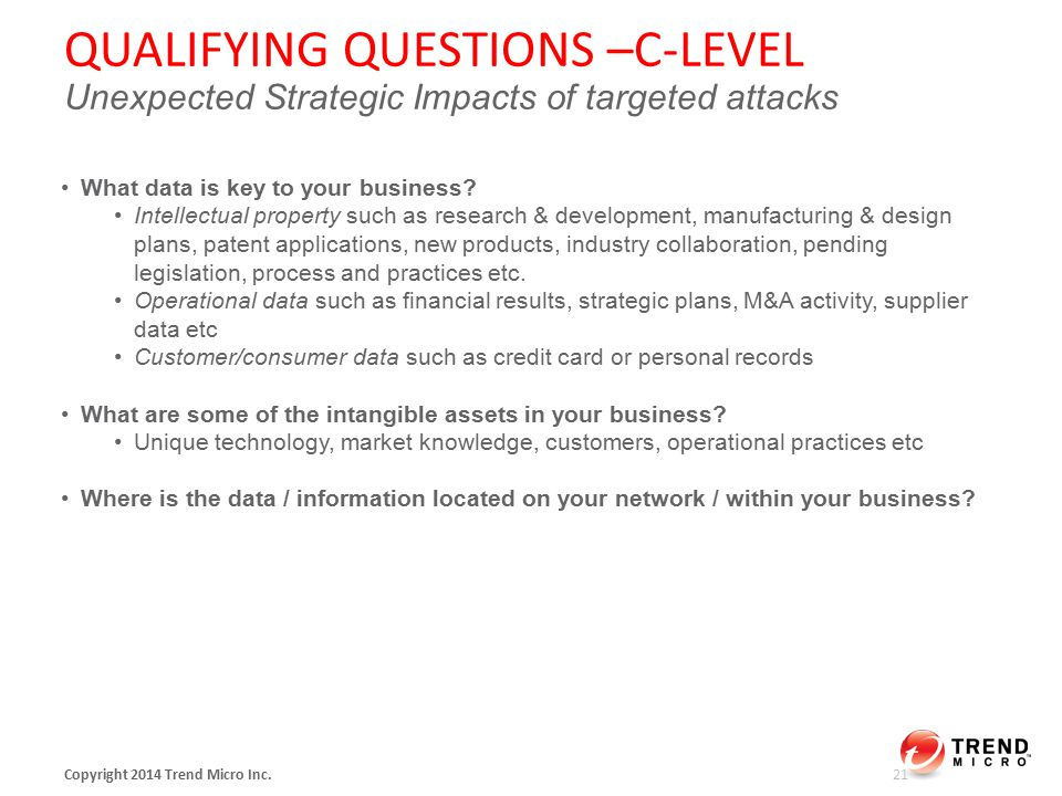 QUALIFYING QUESTIONS –C-LEVEL Unexpected Strategic Impacts of targeted attacks Copyright 2014 Trend Micro Inc.