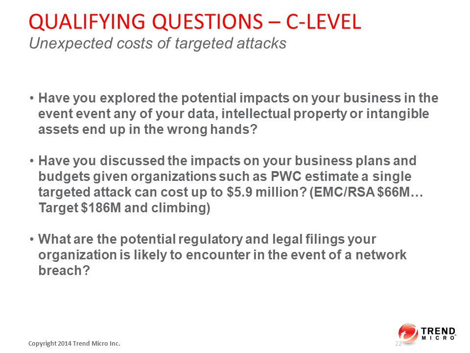 QUALIFYING QUESTIONS – C-LEVEL Unexpected costs of targeted attacks Copyright 2014 Trend Micro Inc.