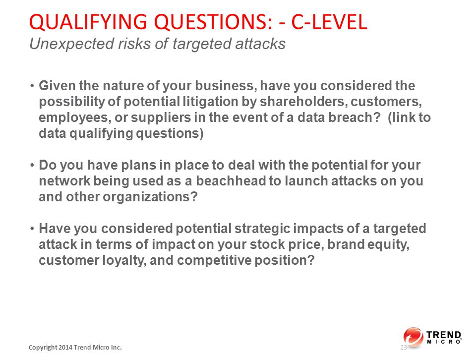 QUALIFYING QUESTIONS: - C-LEVEL Unexpected risks of targeted attacks Copyright 2014 Trend Micro Inc.
