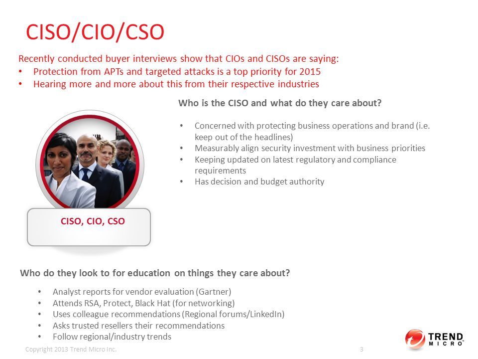 CISO/CIO/CSO Copyright 2013 Trend Micro Inc.3 CISO, CIO, CSO Concerned with protecting business operations and brand (i.e.