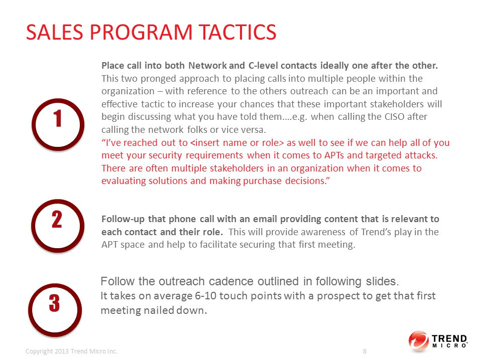 Copyright 2013 Trend Micro Inc.39 COLD CALL SCRIPT 7: FIRST MEETING | TARGET: VP/DIR/MGR NETWORK SCRIPT LANGUAGE Hi (PROSPECT FIRST NAME), this is (REP NAME) from (CHANNEL PARTNER).