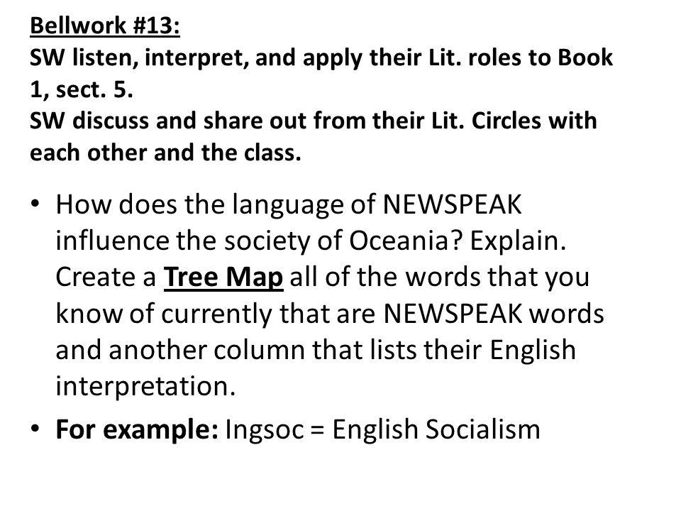 Bellwork #13: SW listen, interpret, and apply their Lit.