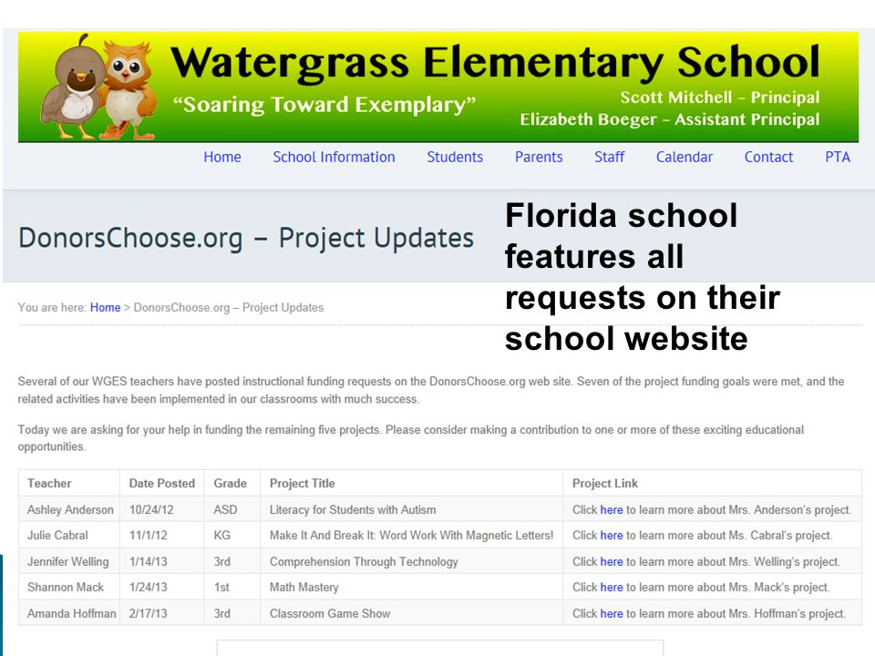 Florida school features all requests on their school website