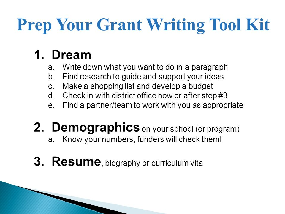 Prep Your Grant Writing Tool Kit 1.