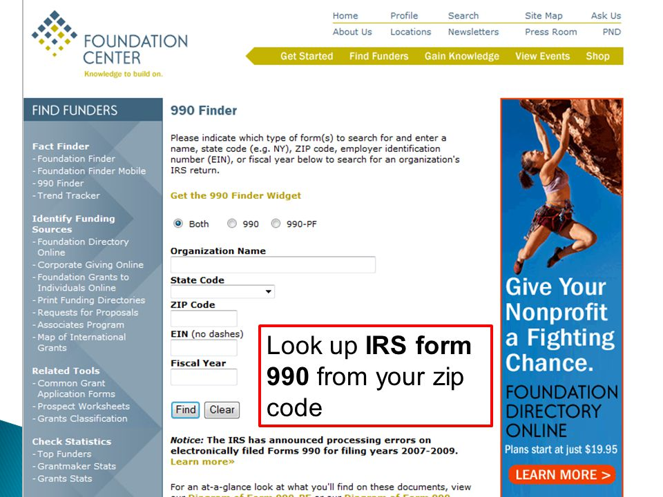 Look up IRS form 990 from your zip code