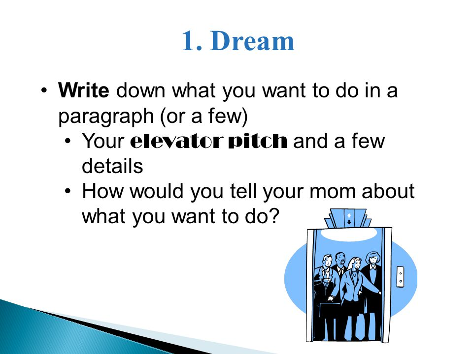 1. Dream Write down what you want to do in a paragraph (or a few) Your elevator pitch and a few details How would you tell your mom about what you wan